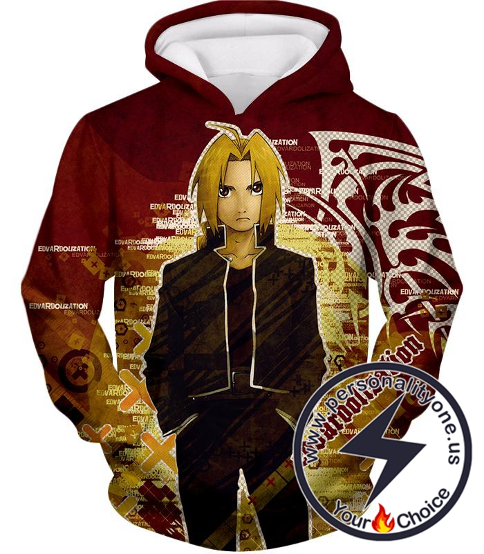 Fullmetal Alchemist Awesome Anime Hero Edward Elrich Cool Promo Poster Red Hoodie