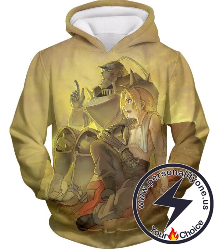 Fullmetal Alchemist Bonded with Friendship and Brotherhood Edward x Alphonse Cool Anime Hoodie