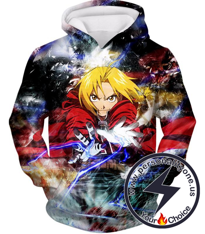 Fullmetal Alchemist Edward Elrich Amazing Alchemy Action Pose Cool Anime Hoodie