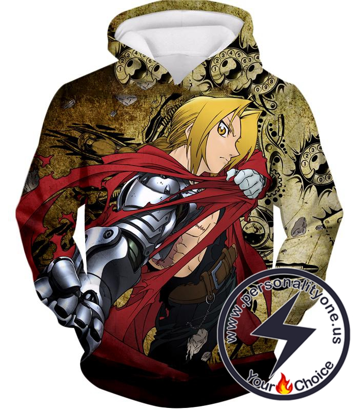 Fullmetal Alchemist Powerful Alchemist Edward Elrich Featuring Automail Right Hand Cool Action Hoodie