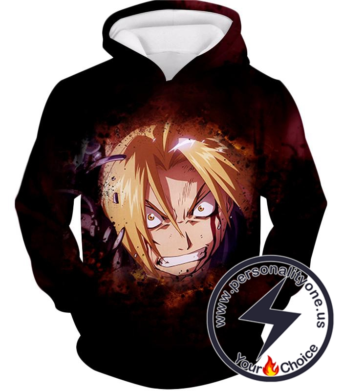 Fullmetal Alchemist Trying Hard and Desperate Edward Elrich Cool Action Hoodie