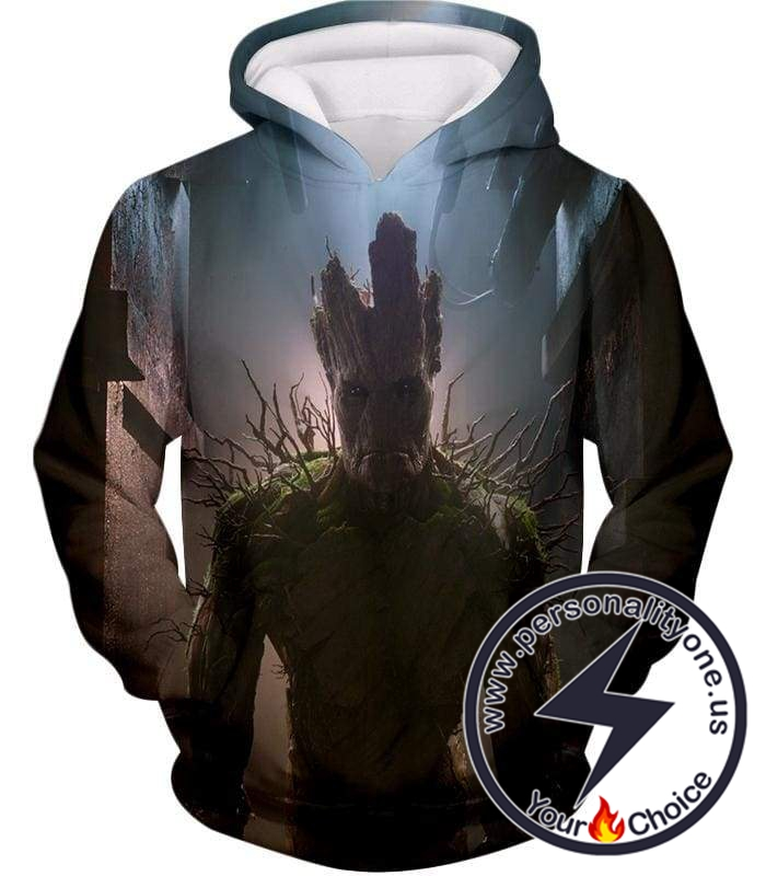 Marvel Hero Adult Groot Cool Action Hoodie