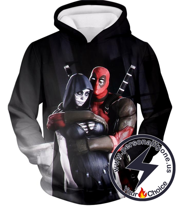 Marvel Universe Deadpool and Death Awesome HD Black Hoodie