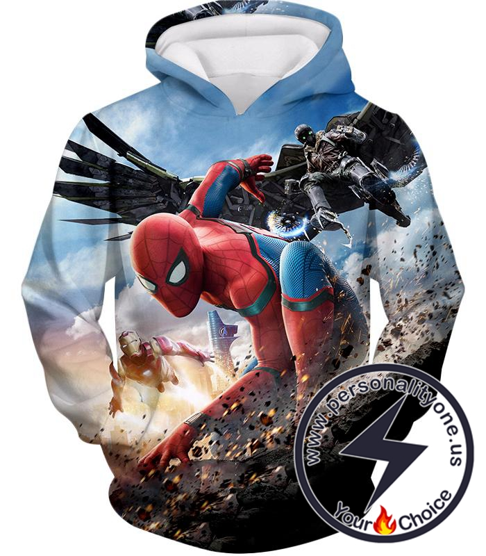 Marvels Spiderman Homecoming Featuring Iron Man and Vulture Hoodie