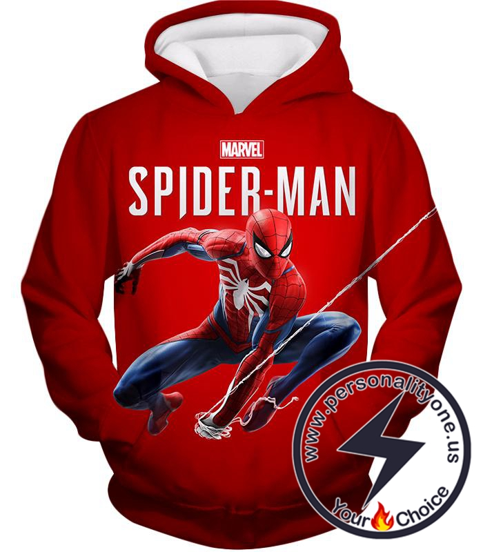 Marvels Web Slinging Spiderman Cool Red Promo Hoodie