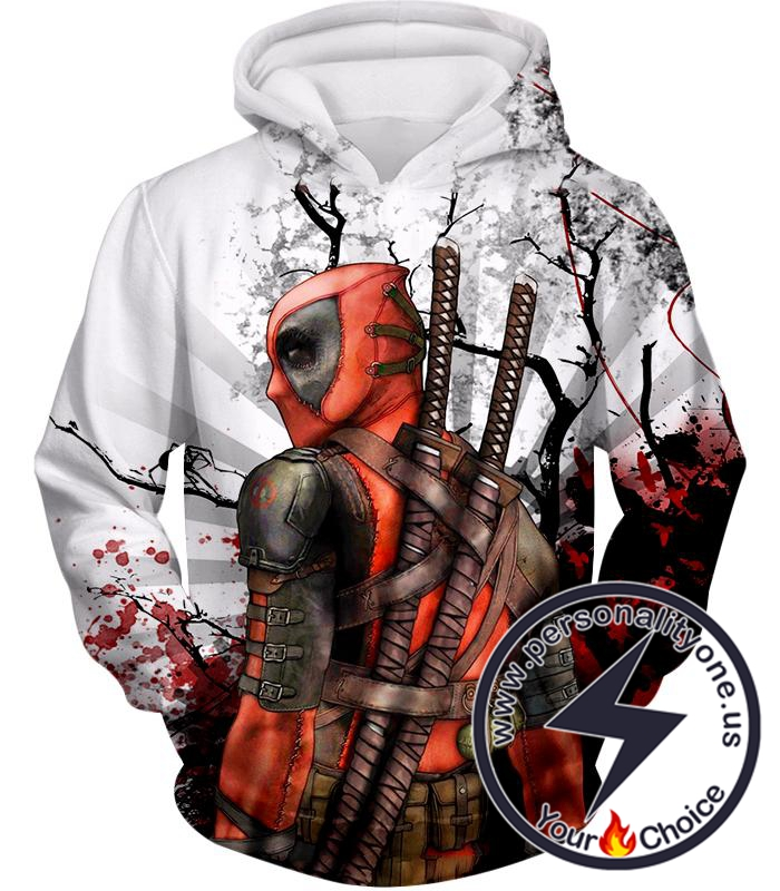 Mutant Anti-Hero Deadpool Awesome White Hoodie