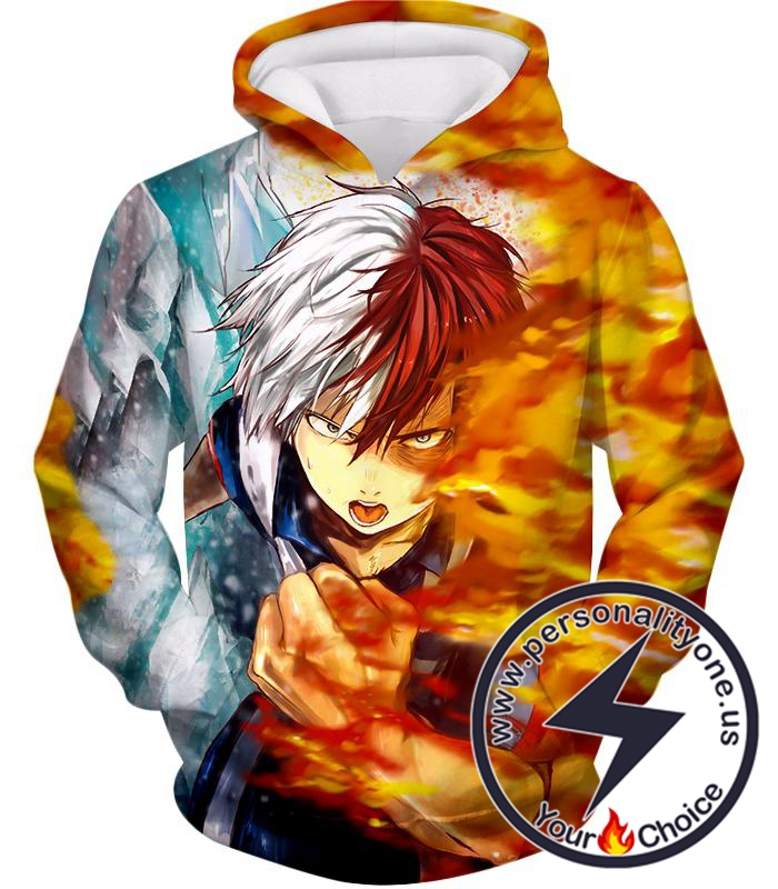 My Hero Academia Favourite Anime Hero Shoto Todoroki Awesome Half Cold Half Hot Promo Hoodie