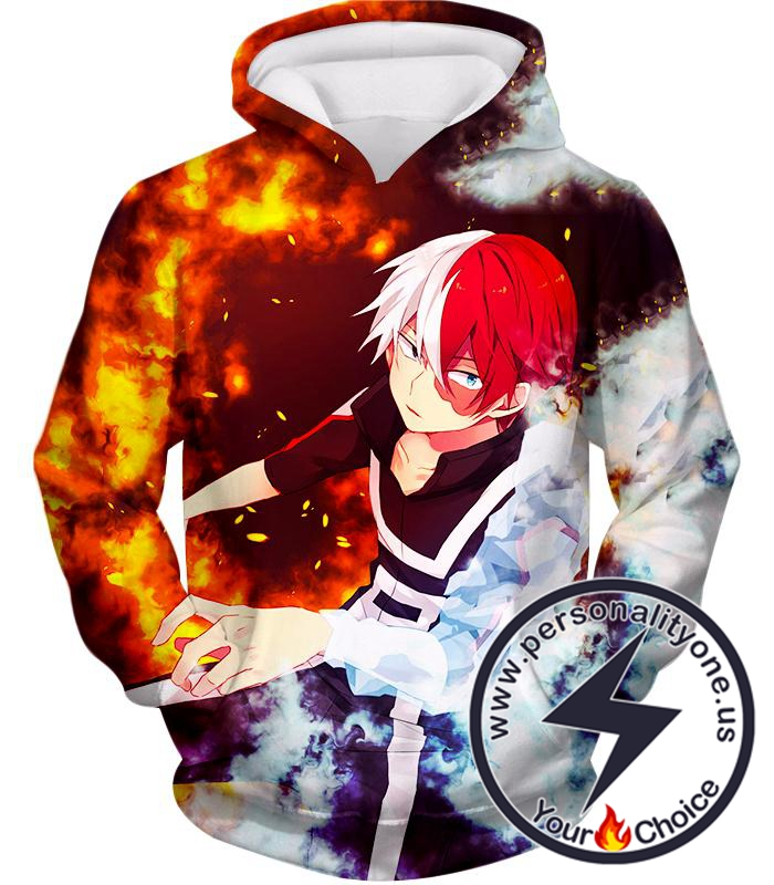 My Hero Academia Super Cool Anime Hero Shoto Todoroki Quirk Half Cold Half Hot Action Hoodie