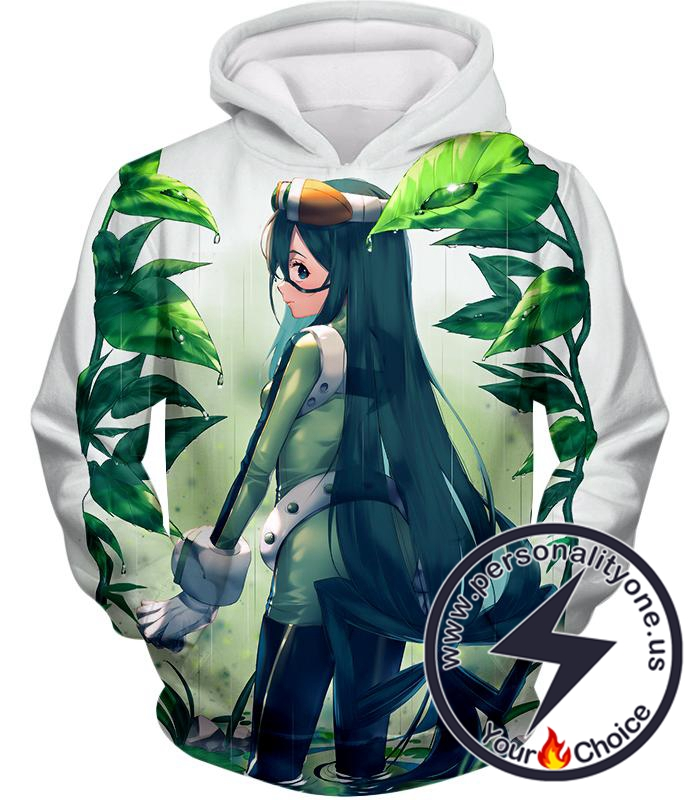 My Hero Academia Super Cool Hero Froppy Tsuyu Asui Awesome Anime White Hoodie