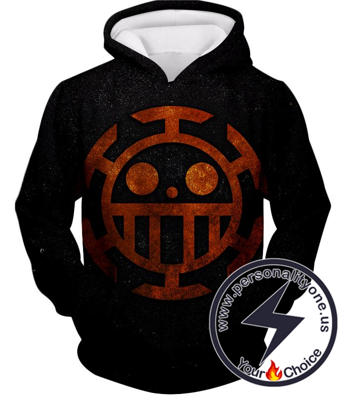 One Piece Cool Heart Pirates Flag Logo Black Hoodie