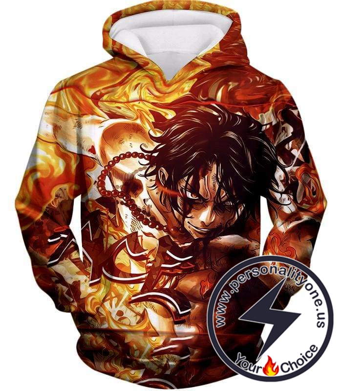 One Piece Cool Pirate Portgas D Ace Aka Fire Fist Ace Action Hoodie