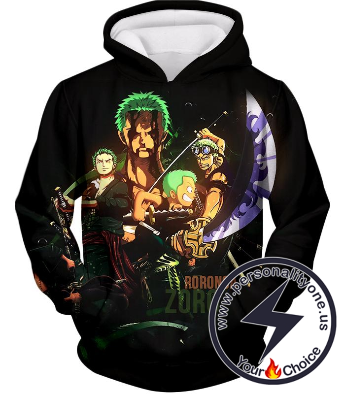 One Piece Extremely Powerful Swordsman Roronoa Zoro Promo Black Hoodie