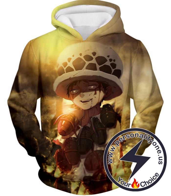 One Piece Painful Past Dying Kid Trafalgar D Law Cool Action Hoodie