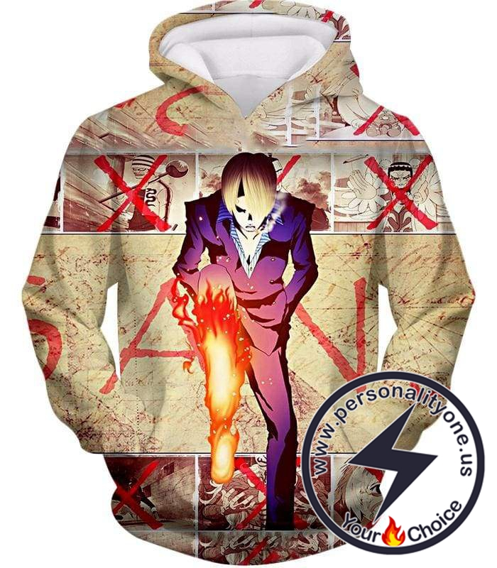 One Piece Strong Straw Hat Pirate Vinsmoke Sanji Action Promo Hoodie