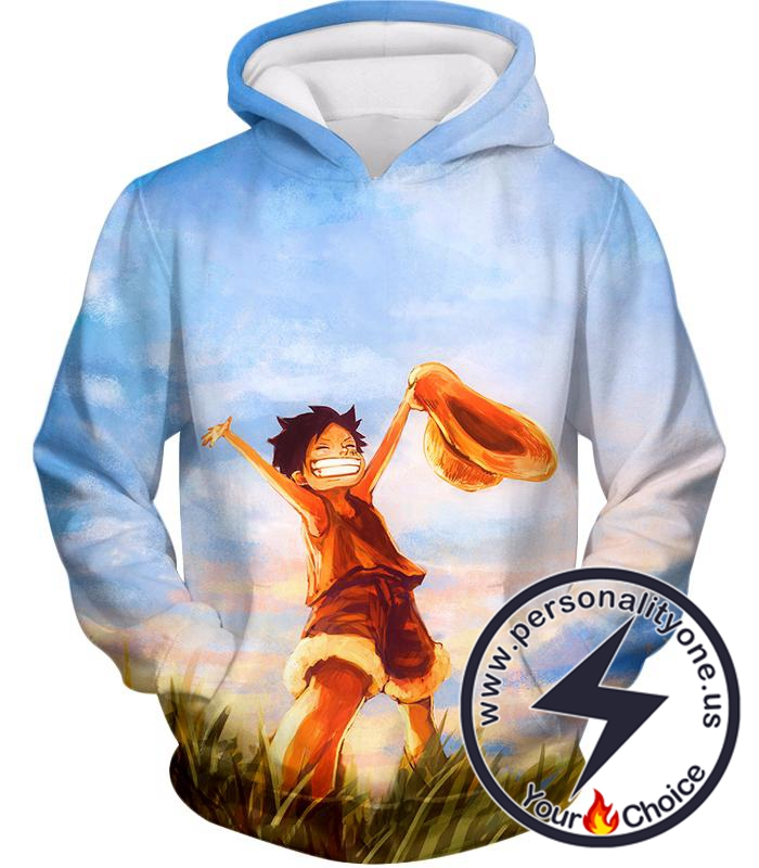 One Piece Super Cool One Piece Pirate Kid Luffy Blue Hoodie