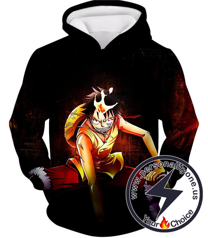 One Piece Super Cool Straw Hat Luffy Action Black Hoodie
