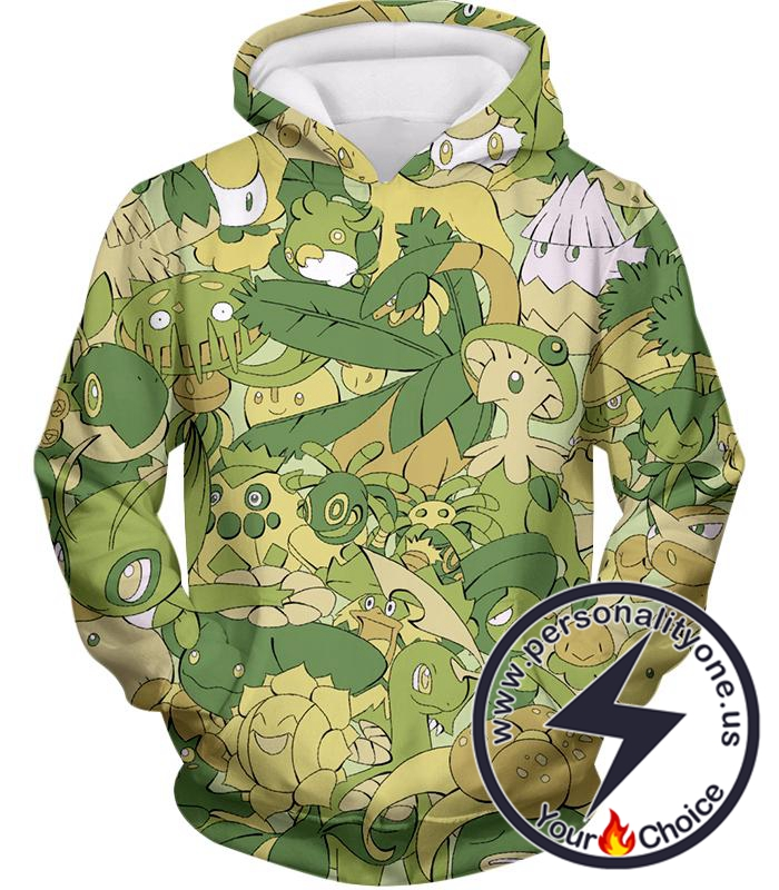 Pokemon Amazing All in One Grass Type Pokemons Super Cool Hoodie