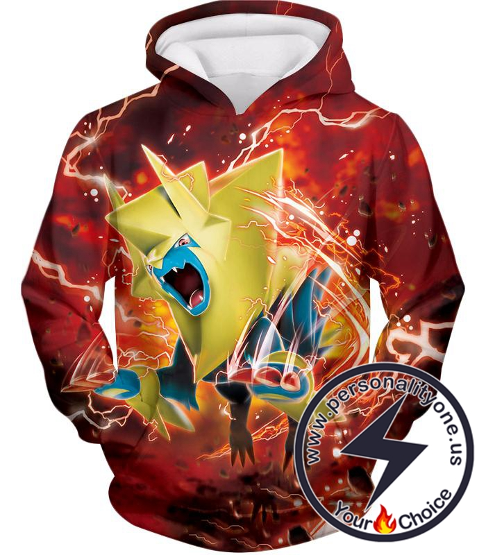 Pokemon Amazing Electric Type Pokemon Mega Manectric HD Action Red Hoodie