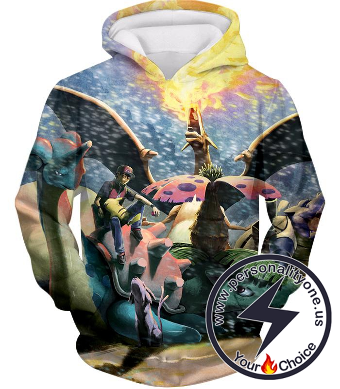 Pokemon Ash Ketchums First Generation All Evolved Pokemons Awesome Hoodie