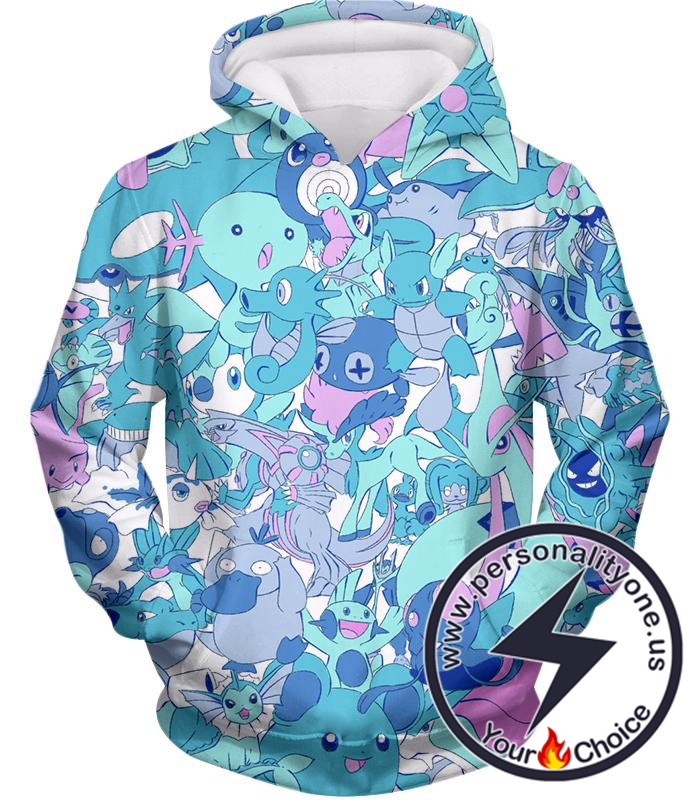 Pokemon Cool All in One Water Pokemons Promo Anime Hoodie