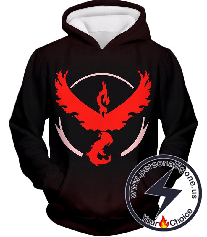 Pokemon Cool Pokemon Go Team Valor Moltres Logo Black Hoodie