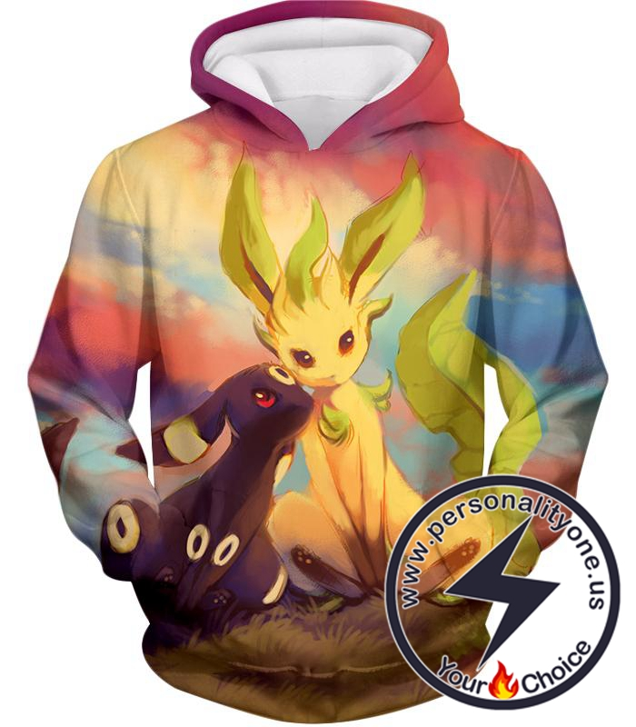 Pokemon Cute Wolf Pokemons Umbreon and Leafeon Hoodie