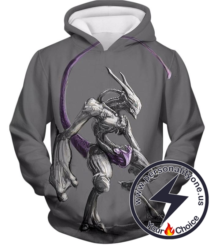 Pokemon Extremely Powerful Psychic Pokemon Mewto Cool Grey Hoodie