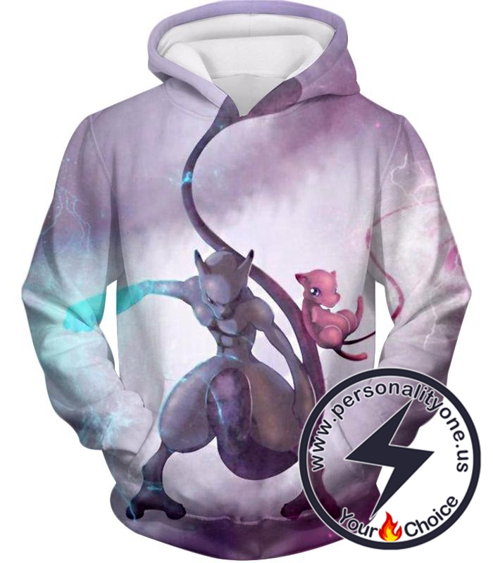 Pokemon Legendary Psychic Pokemons Mew x Mewto Cool White Hoodie
