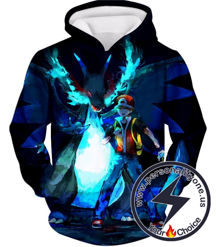 Pokemon Powerful Ash Charizard Mega Evolution Cool Action Hoodie