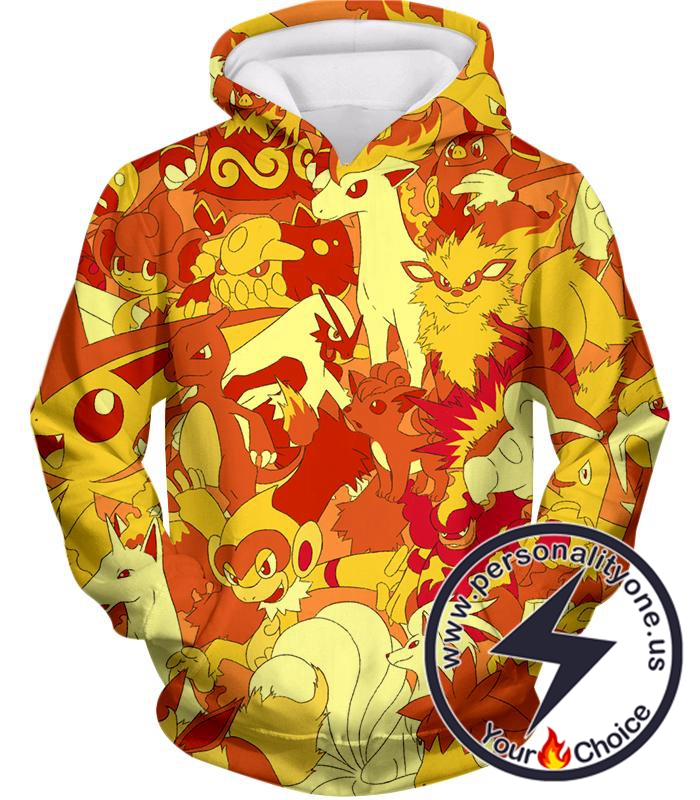 Pokemon Super Cool All in One Fire Type Pokemons Amazing Hoodie