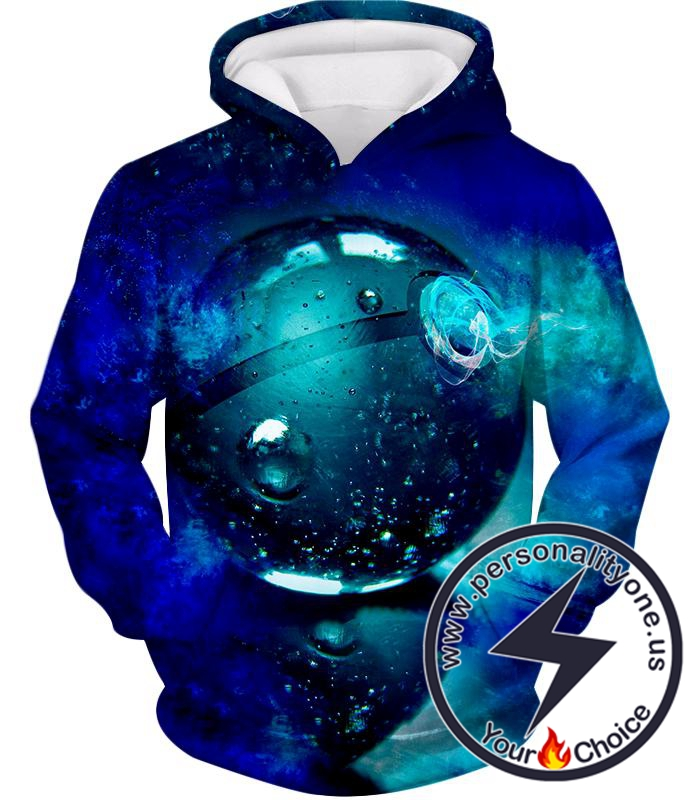 Pokemon Super Cool Pokeball HD Graphics Amazing Blue Hoodie