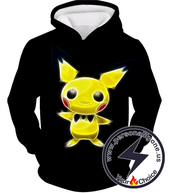 Pokemon Super Cute Thunder Pokemon Pichu Cool Black Hoodie