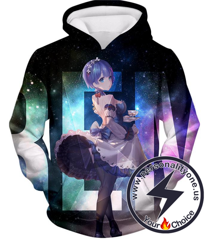 Re:Zero Blue Haired Perfect Anime Maid Rem Promo Black Hoodie