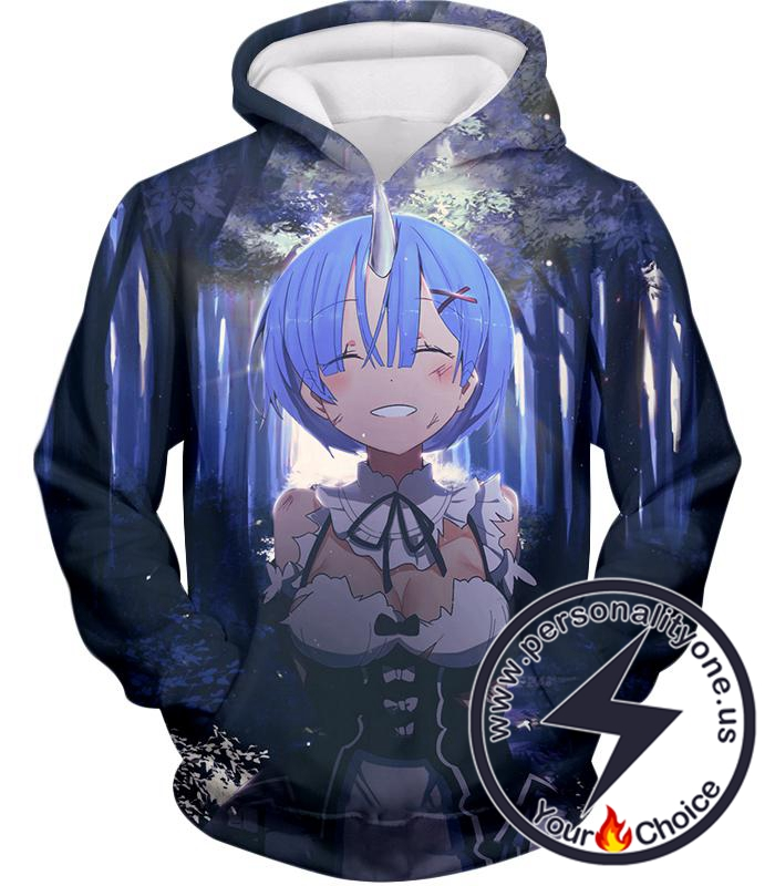 Re:Zero Re:Zero Blue Haired Maid Rem Oni Cool anime Hoodie