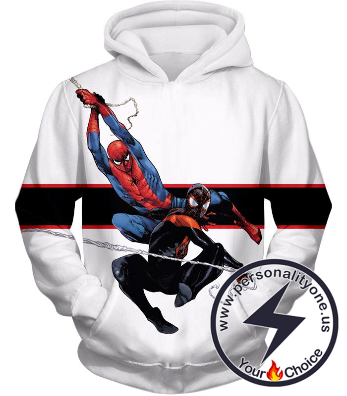 Spiderman x Black Spiderman Cool Action White Hoodie