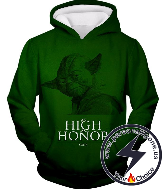 Star Wars Yoda The Legendary Jedi Master Awesome Green Quoted Hoodie