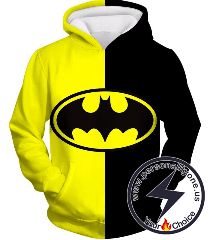 Super Cool Batman Logo Yellow Black Printed Hoodie
