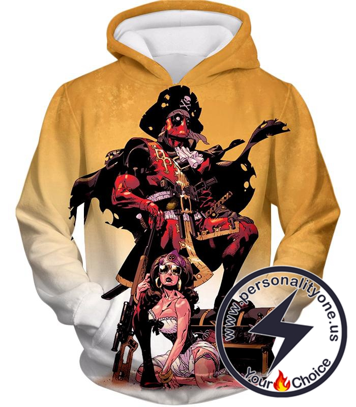 Super Cool Deadpool Pirate Cosplay Yellow Hoodie