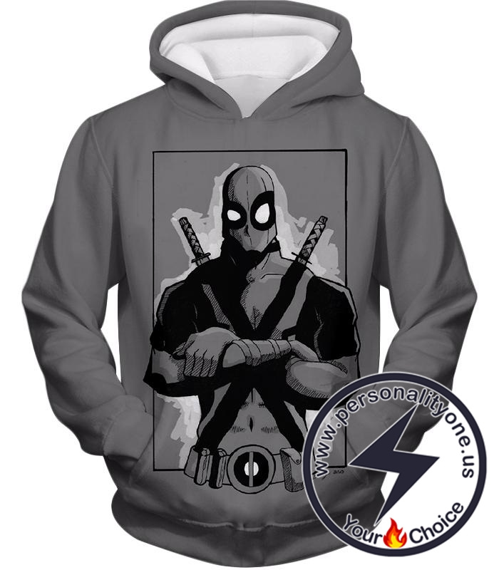 Super Cool Grey Deadpool Promo Pose Hoodie