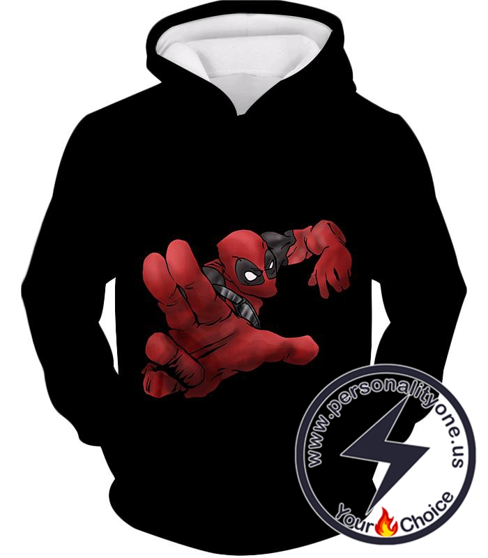 Super Cool Soldier Deadpool Action Black Hoodie