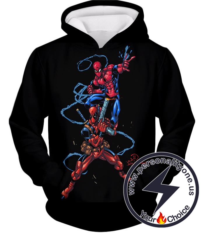 Super Cool Spiderman and Deadpool Action Black Hoodie