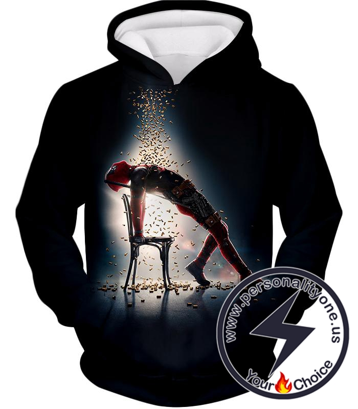 Super Regenerating Hero Deadpool Cool Promo Black Hoodie