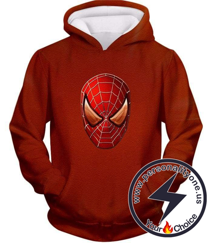 Ultimate Spiderman Mask Promo Cool Red Hoodie