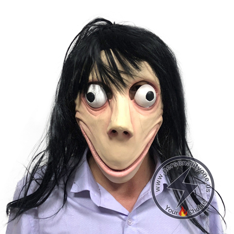 Halloween Scary Momo Hacking Game Latex Mask #1