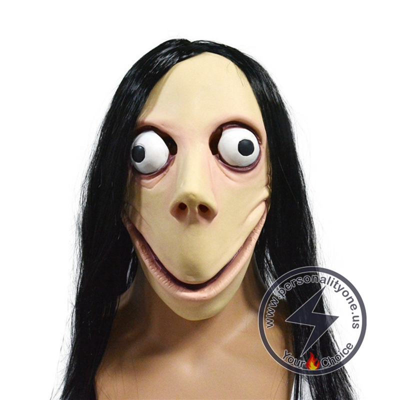 Halloween Scary Momo Hacking Game Latex Mask #2
