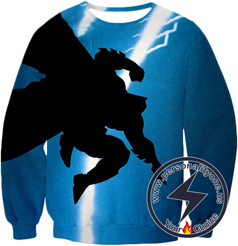 Amazing Action Batman Awesome Shadow Print Blue Sweatshirt