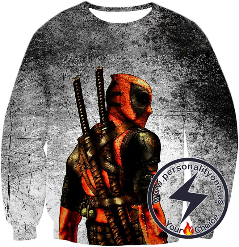 Amazing Deadpool Serious Mercenary Pose Black Textured Sweatshirt