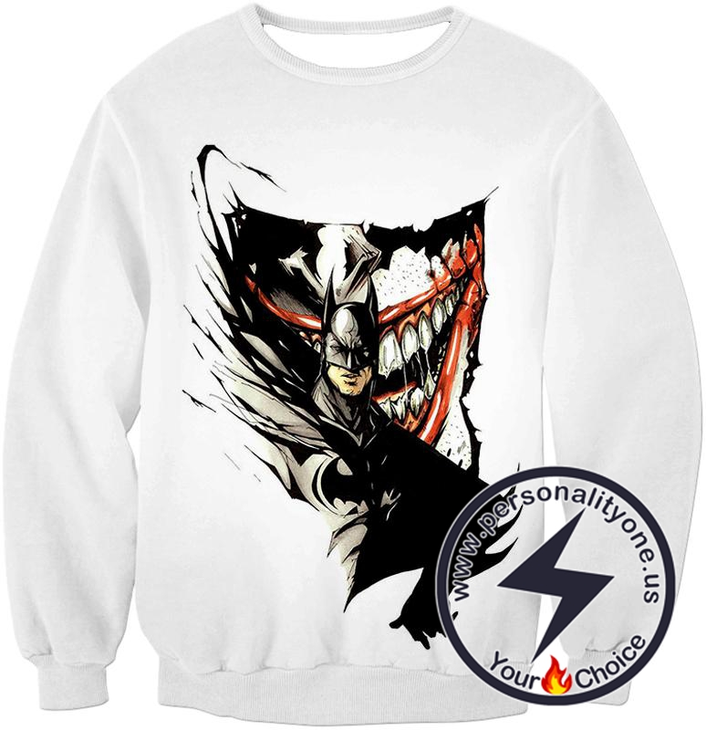 Amazing Fan Art Batman x The Joker Cool White Sweatshirt