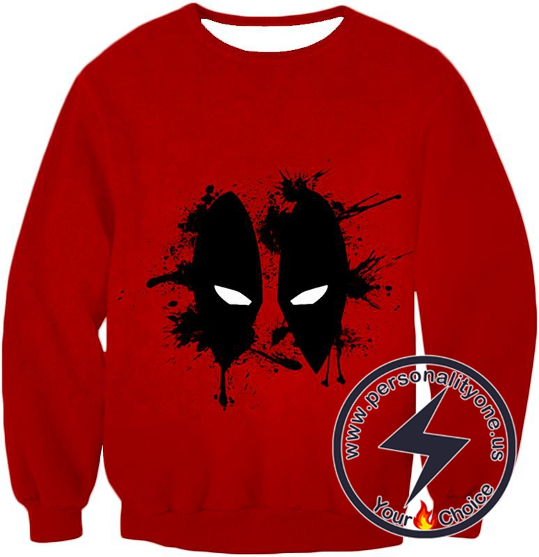 Amazing Red Deadpool Masked Patterned Promo Sweatshirt