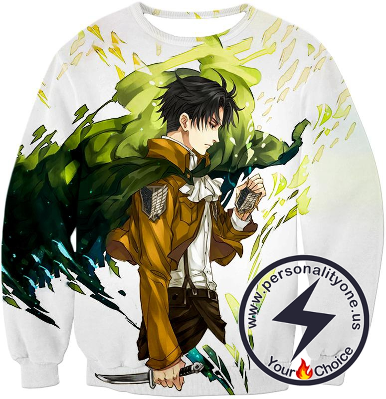 Attack on Titan Awesome Survey Corp Soldier Levi Ackerman Ultimate Anime White Sweatshirt